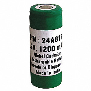 Nickel Cadmium Battery, 1.2Ah Battery Capacity, For Use With 3GA44, 3XE31, 4WT13, 4WT17, 4WT18, 4WT1