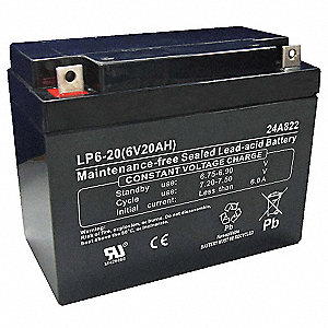 ABS Battery, Voltage 6, Battery Capacity 20Ah, Nut/Bolt Terminal Type