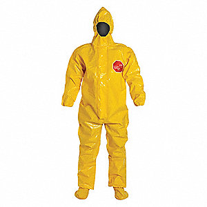 Hooded Chemical Resistant Coveralls with Elastic Cuff, Tychem® 9000 Material, Yellow, XL