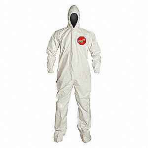 Hooded Coverall w/Socks,White,M,PK6