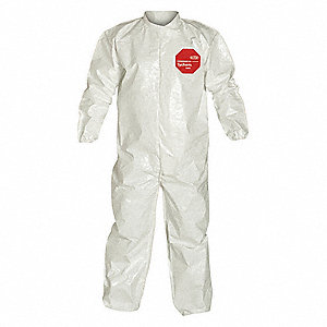 Collared Chemical Resistant Coveralls with Elastic Cuff, Tychem® 4000 Material, White, 6XL