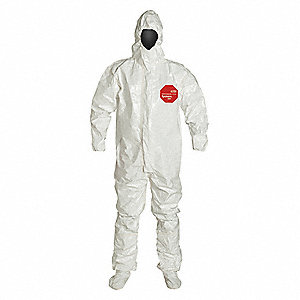 Hooded Coverall,Socks/Boot Flaps,M,PK6