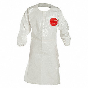 "Chemical Resistant Sleeve Apron, White, 44"" Length, 27"" Width, Tychem® 4000 Material, PK 25"