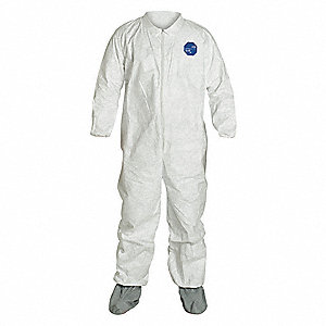 Coveralls with Elastic Cuff, Tyvek® 400 Material, White, 3XL