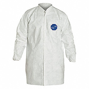 Disp Lab Coat,Polyethylene,White,XL,PK30