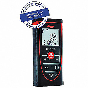 "Laser Distance Meter, ±1/16"" Accuracy, Up to 295 ft. Range"