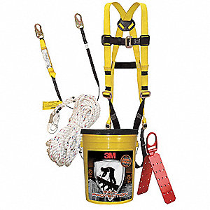 Yellow/Black, Universal Size Fall Protection Kit, 310 lb. Weight Capacity, Friction Leg Strap Buckle