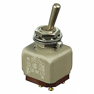 Toggle Switch, Number of Connections: 4, Switch Function: On/Off, 5A @ 120VAC AC Contact Rating