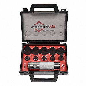 "5-1/2"" High-Grade Tool Alloy Hollow Punch Set&#x3b; Number of Pieces: 11"