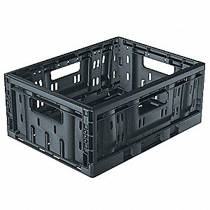"Collapsible Container, Black, 15-1/2"" Outside Length, 11-1/2"" Outside Width, 6-1/2"" Outside Height"