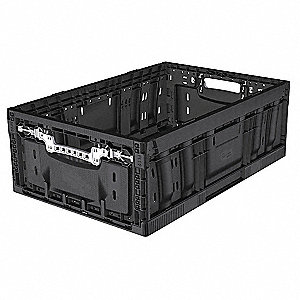 "Collapsible Container, Black, 23-11/16"" Outside Length, 15-13/16"" Outside Width"