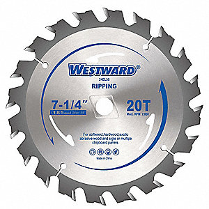 "7-1/4"" Carbide Crosscutting Circular Saw Blade, Number of Teeth: 20"