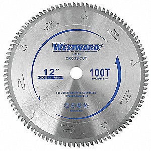 "12"" Carbide Combination Circular Saw Blade, Number of Teeth: 100"