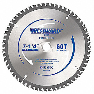 "7-1/4"" Carbide Crosscutting Circular Saw Blade, Number of Teeth: 60"