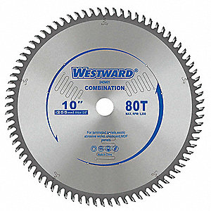 "10"" Carbide Combination Circular Saw Blade, Number of Teeth: 80"