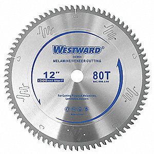 "12"" Carbide Combination Circular Saw Blade, Number of Teeth: 80"