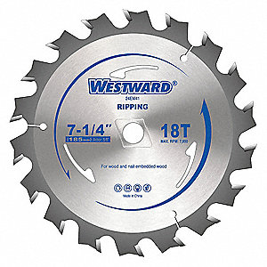 "7-1/4"" Carbide Ripping Circular Saw Blade, Number of Teeth: 18"