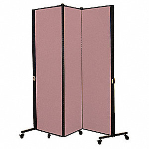 5 ft. 9 in. x 5 ft. 9 in., 3-Panel Portable Room Divider, Rose