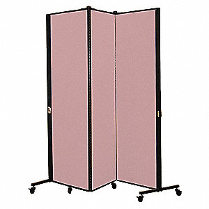 5 ft. 9 in. x 5 ft. 9 in., 3-Panel Portable Room Divider, Raspberry Mist