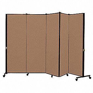 9 ft. 5 in. x 5 ft. 9 in., 5-Panel Portable Room Divider, Walnut