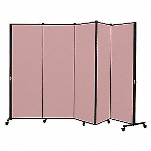 9 ft. 5 in. x 5 ft. 9 in., 5-Panel Portable Room Divider, Raspberry Mist