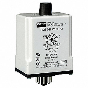 Time Delay Relay, 240VAC Coil Volts, 10A Contact Amp Rating (Resistive), Contact Form: DPDT