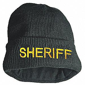 22123de9b Black Sheriff Watch Cap, Beanie Style, Universal Size