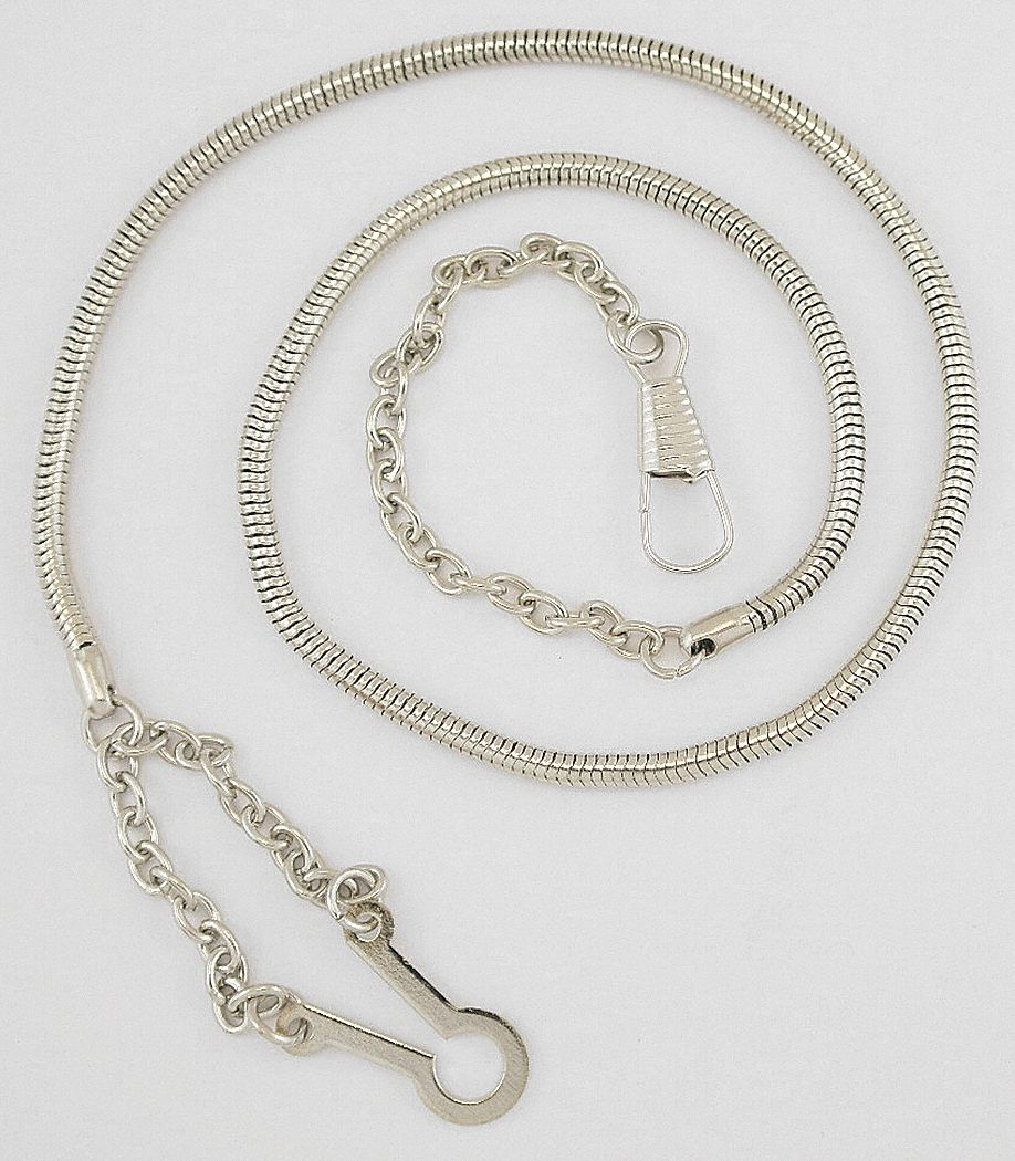 Metal Whistle Chain,  Silver,  Includes Button Style Hook