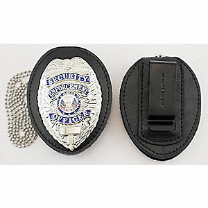 Leather Badge Holder, Universal, Black Color