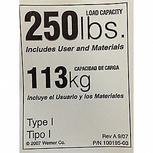 Duty Rating Label Replacement, 250 lb.