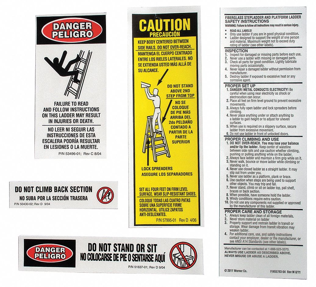 AL Stepladder Safety and Instructions Labels