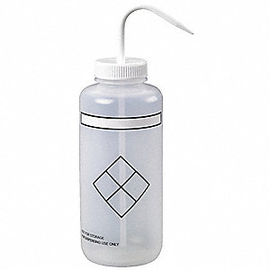 Wash Bottle, 4 PK, LDPE, Wide Mouth, Non-Vented, Capacity: 32 oz.