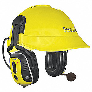 23dB Spanish Version Electronic Ear Muff, Yellow&#x3b; ANSI S3.19-1974