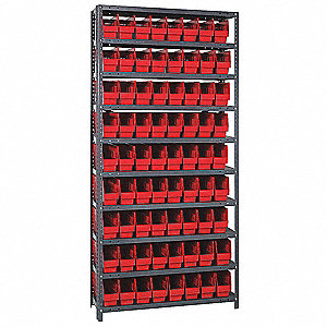 "Steel Bin Shelving with 72 Bins, 36""W x 12""D x 75""H, Load Capacity: 4000 lb., Gray"
