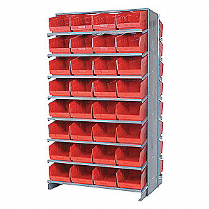 Pick Rack,24Dx36Wx60H,64 Red Bins