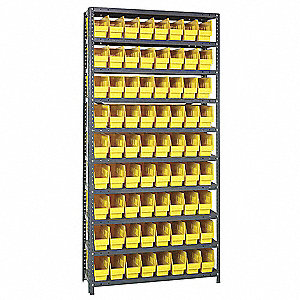"36"" x 12"" x 75"" Bin Shelving with 4000 lb. Load Capacity, Gray Shelving Unit, Yellow Bins"