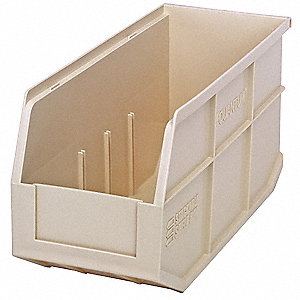 STACKABLE SHELF BIN,14X6X7,IVORY