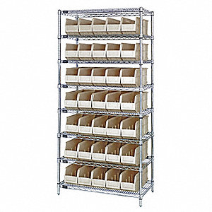 "36"" x 14"" x 74"" Bin Shelving with 6400 lb. Load Capacity, Ivory"
