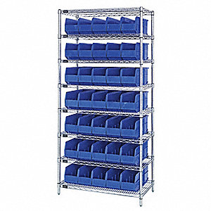 "36"" x 14"" x 74"" Bin Shelving with 6400 lb. Load Capacity, Blue"