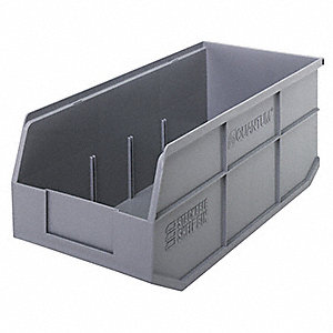 STACKABLE SHELF BIN,18X8-1/4X7,GRAY