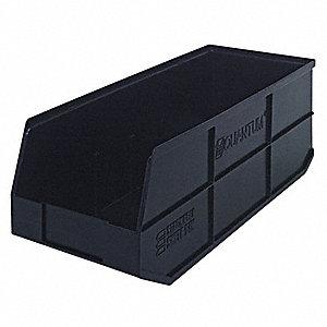 STACKABLE BIN,20-1/2X8-1/4X7,BLACK