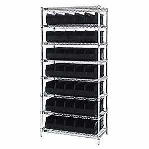 "36"" x 14"" x 74"" Bin Shelving with 6400 lb. Load Capacity, Black"