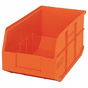 "Shelf Bin, Orange, 7""H x 14""L x 8-1/4""W, 1EA"