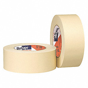 Paper Masking Tape, Rubber Tape Adhesive, 6.90 mil Thick, 48mm X 55m, Tan, 24 PK