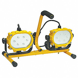 32W LED Temporary Job Site Light, Yellow, 120VAC