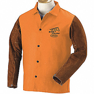 Orange/Brown 100% 9 oz. Flame-Resistant Treated Cotton Body and Cowhide Sleeves Welding Jacket, Size