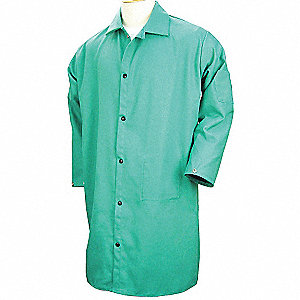FR Coat, 50 In, Cotton, Green, 2XL