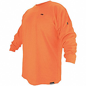 "Orange Flame-Resistant Crewneck Shirt, Size: M, Fits Chest Size: 43"" to 45"", 10.0 cal./cm2 ATPV Rati"