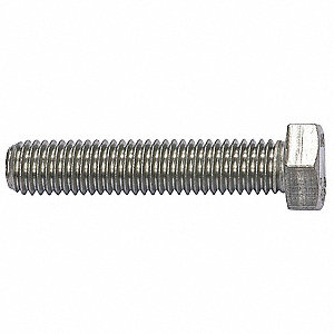 "7/8"" Stainless Steel Hex Head Cap Screw, 18-8, 1/4""-28 Dia/Thread Size, 50 PK"