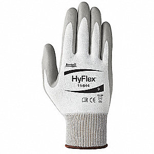 Polyurethane Cut Resistant Gloves, ANSI/ISEA Cut Level 2, HPPE Lining, Gray, 6, PR 1